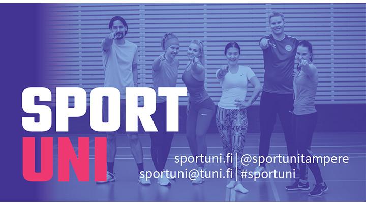 SportUnin logo. Sinisävyinen kuva, jossa taustalla urheilullisia ihmisiä.