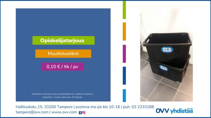 Opiskelijatarjous: Muuttolaatikot 0,10 € / laatikko / päivä.